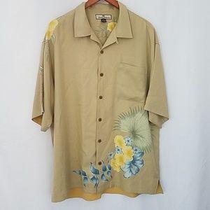 Tommy Bahama Floral Silk Dress Shirt XL